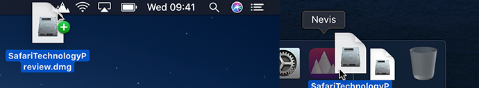 Nevis status bar item and dock icon